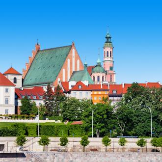 Skyline van de stad Warschau in Polen