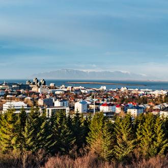 Uitzicht over de stad Reykjavik