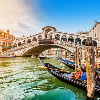 Rialto Brug met gondels in Venetie Italie