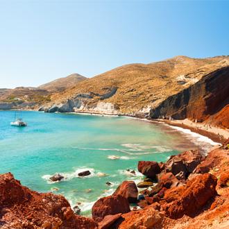Rood strand op Santorini, Griekenland