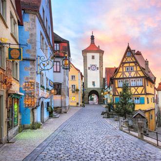 Rothenburg ob der Tauber met gekleurde gebouwen in Duitsland