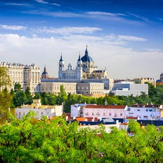 Santa Maria La Real de La Almudena kathedraal op de skyline van Madrid in Spanje