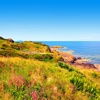 De kust van Ayrshire in zuidwest Schotland