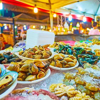 Seafood bij Bangla market bij Patong Beach Thailand