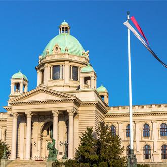 Het huis van de Nationale Vergadering van Servie in Belgrado