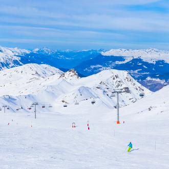 Het skigebied van Val Thorens in de Franse Alpen in Frankrijk