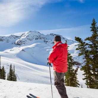 Op de piste in skiresort Whistler in Canada