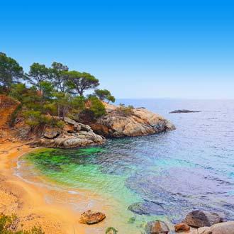 Strand met kleine rotsen