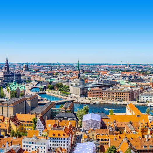 Overzicht van de stad Kopenhagen in Denemarken