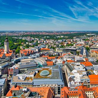 Stadscentrum van Leipzig vanuit de lucht