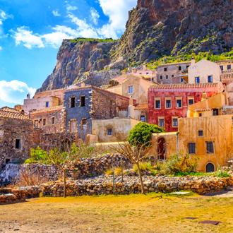 Middeleeuws vestingstadje Monemvasia in Peloponnesos