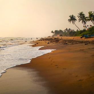 Het brede zandstrand met palmbomen in Kalutara, Sri Lanka