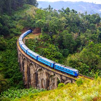 Trein op de Negen boog brug in Sri Lanka