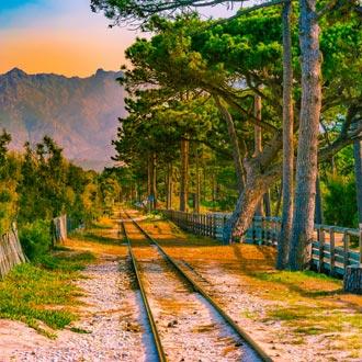 Landschap met treinrails, bomen en een berg in Calvi