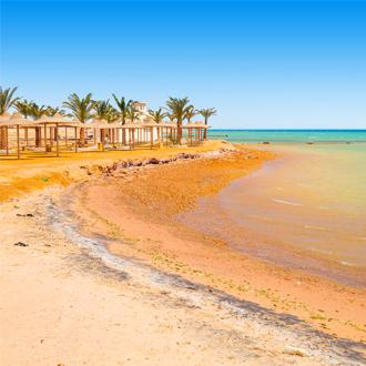 Tropisch strand met palmbomen en parasols aan de Rode Zee Egypte