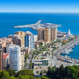 Boven aanzicht over de stad Malaga
