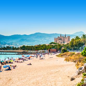 Zandstrand met kathedraal op achtergrond in Playa de Palma
