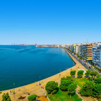 Zee en promenade van Thessaloniki, Griekenland
