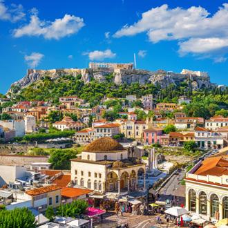 Zicht op Acropolis in Athene, Griekenland