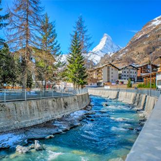 Foto van de oude stad Zermatt