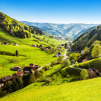 Groene vallei met bergen Schwarzwald