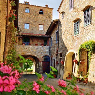 Oud steegje in het middeleeuwse dorp San Donato in Poggio in de gemeente Tavarnelle Val di Pesa, Flo