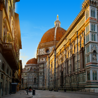 Uitzicht op Piazza del Duomo in Florence, Italie