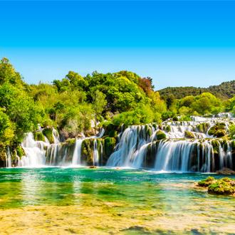 Watervallen van Krk National Park in Kroatie