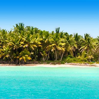 Het zandstrand en palmbomen in Bayahibe