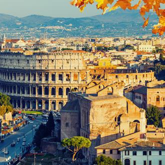 Zicht op het colosseum in Rome, Italie