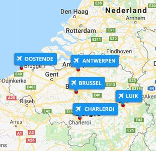 Kaart met locatie van Belgische vliegvelden