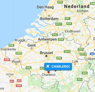 Kaart van België met de locatie van Brussels Charleroi Airport