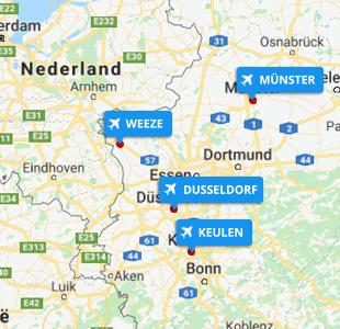 Kaart met locatie van Duitse vliegvelden