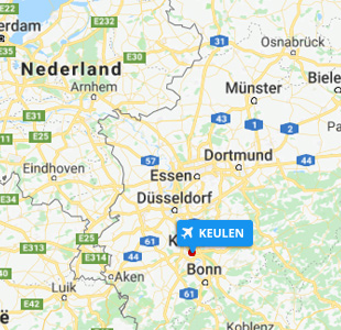 Kaart van West-Duitsland met locatie van Keulen Airport