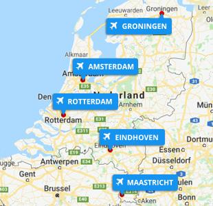 Kaart met locatie van Nederlandse vliegvelden