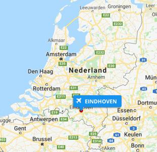 Kaart van Nederland met locatie van Eindhoven Airport