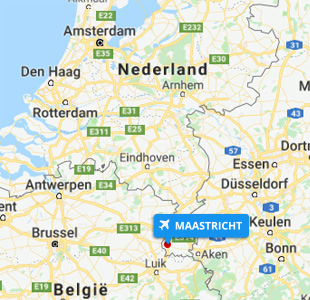 Kaart Nederland locatie vliegveld Maastricht