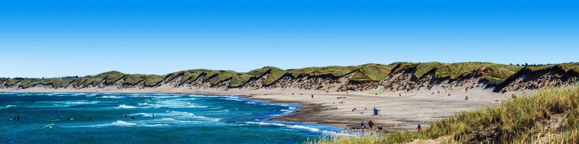 Ruige kustlijn met zee en duinen in Denemarken