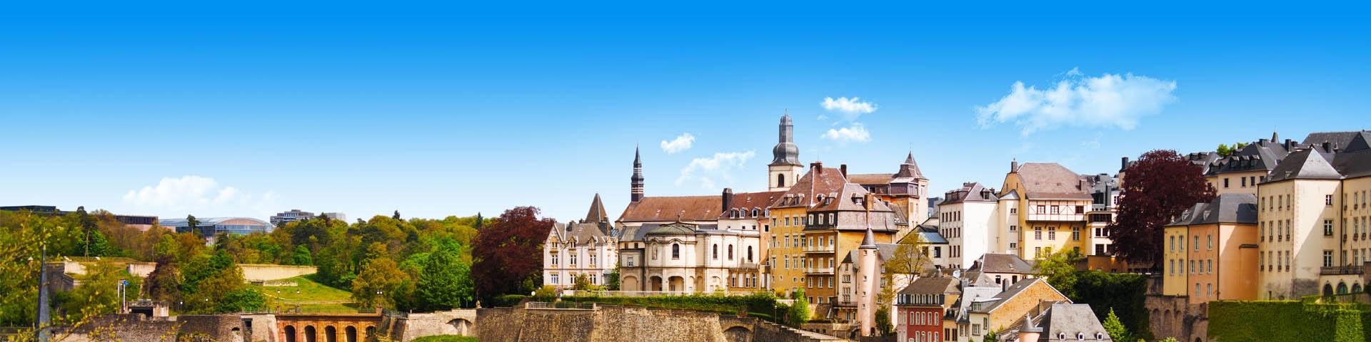 Bovenaanzicht met oude huisjes van de stad Luxemburg