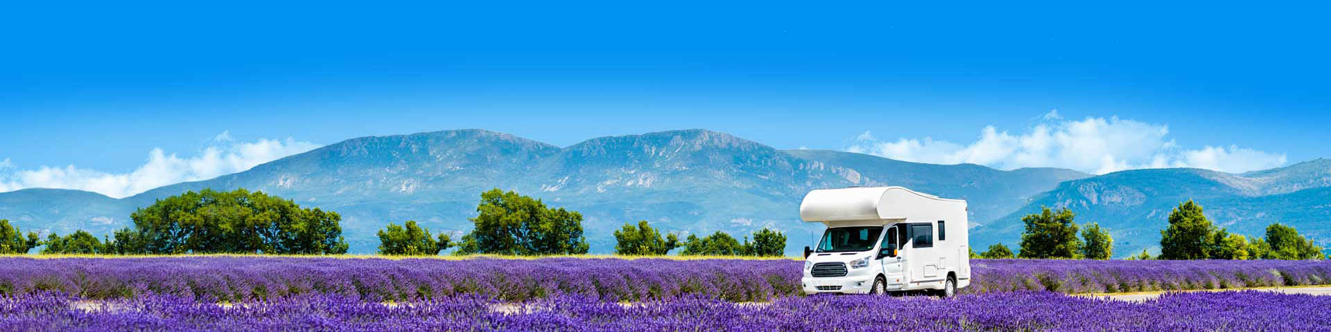 Camper aan het rijden door het lavendelveld tijdens vakantie Frankrijk
