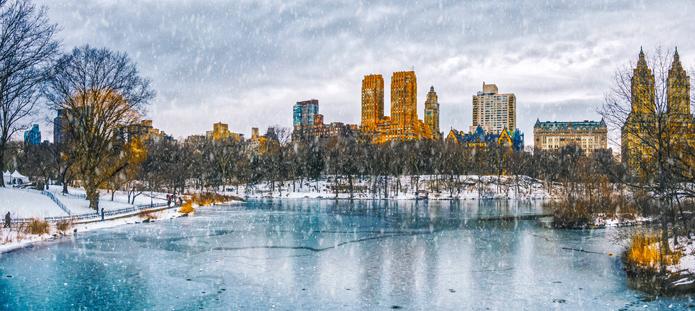 Bevroren vijver in Central Park van New York