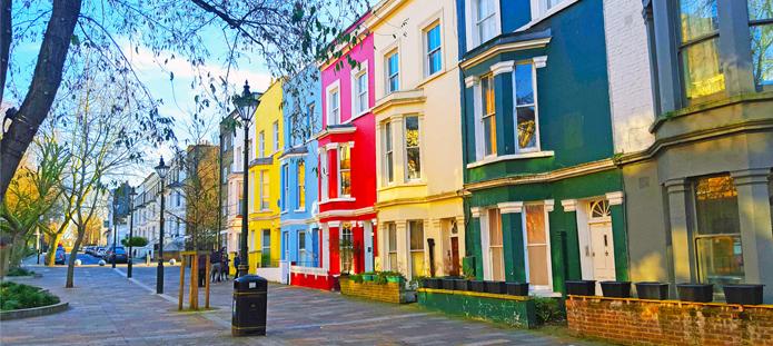 Gekleurde huizen in Londen