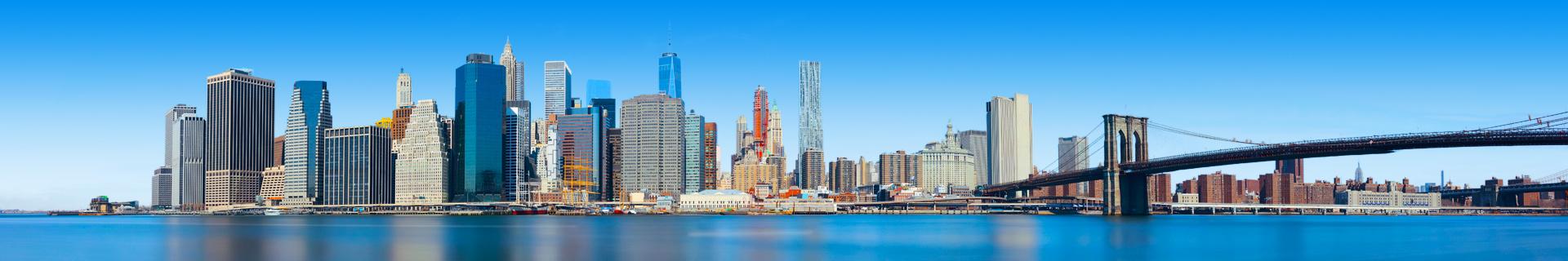 Skyline van een stad in de Verenigde Staten