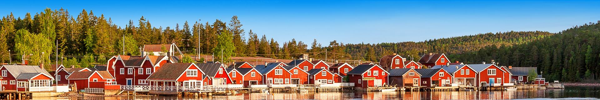 Kleurrijke huizen in Zweden