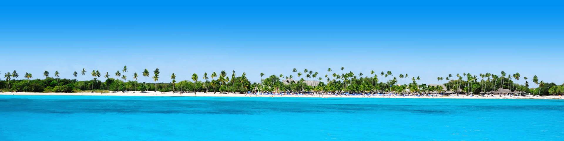 Azuurblauwe zee met palmbomen en een strand