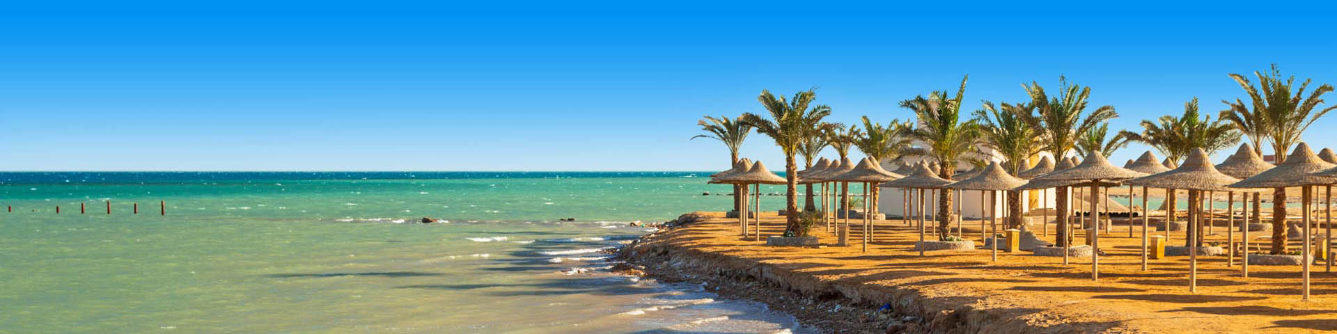 Strand met parasols, wuivende palmbomen en een blauwe zee