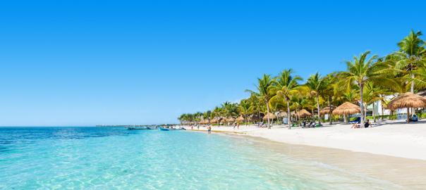 Tropisch zandstrand met helderblauwe zee en palmbomen
